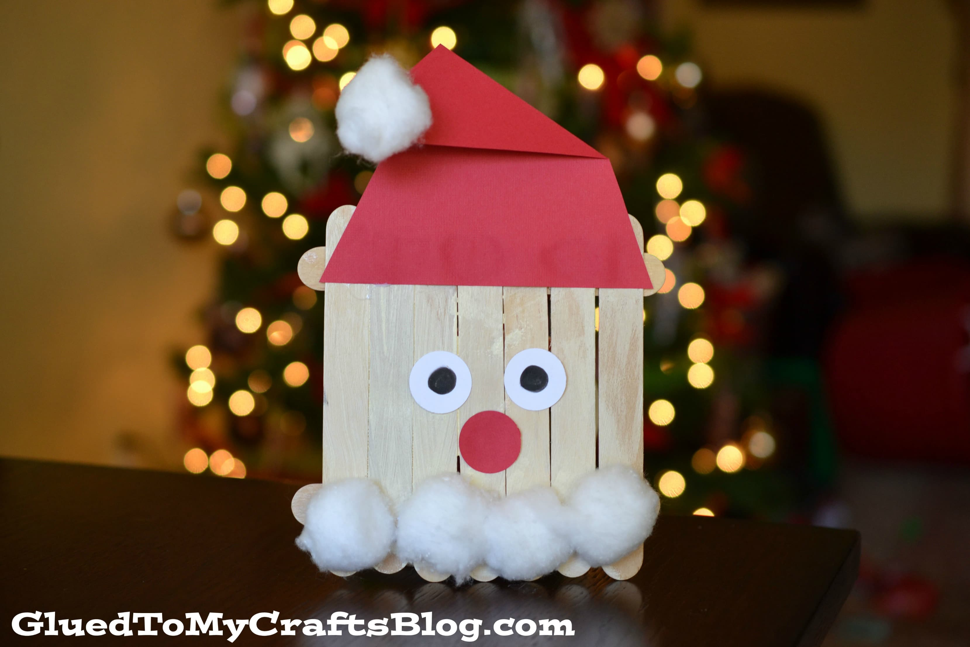 Popsicle stick santa kid craft for Popsicle stick picture frame christmas