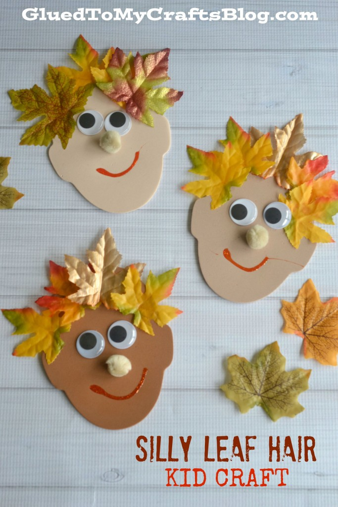 Silly leaf hair kid craft for Harvest crafts for kids