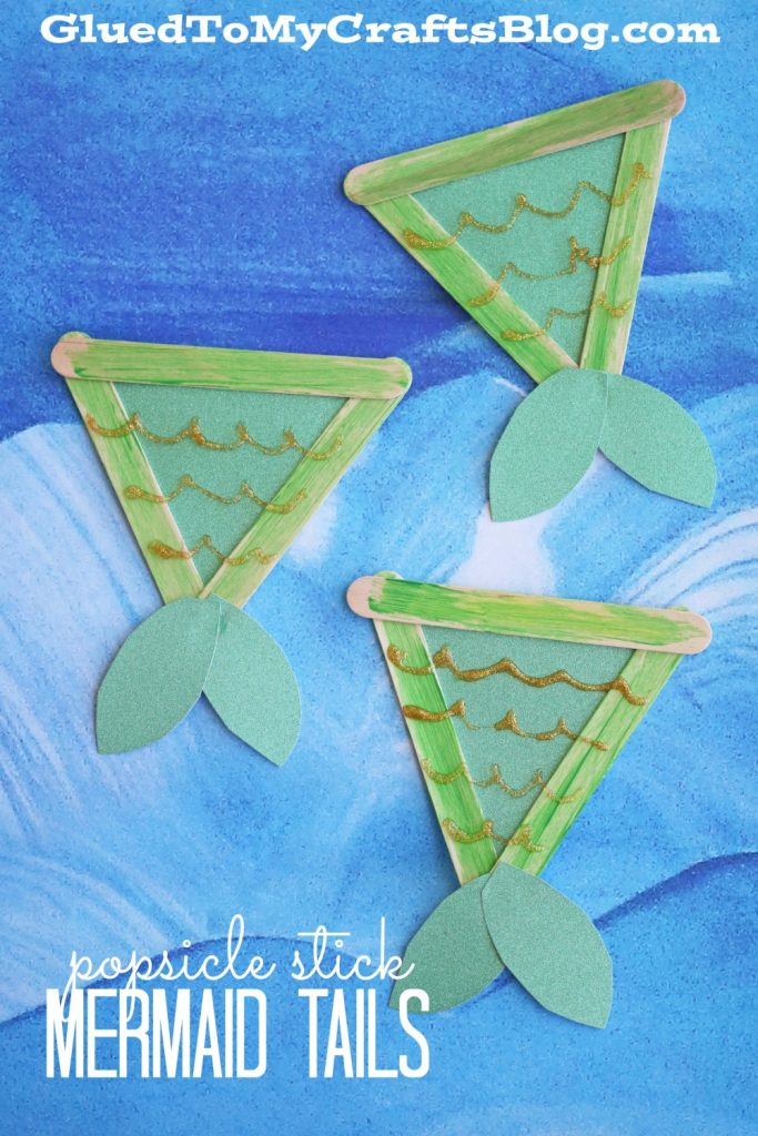 Popsicle stick mermaid tails kid craft glued to my crafts for Mermaid arts and crafts