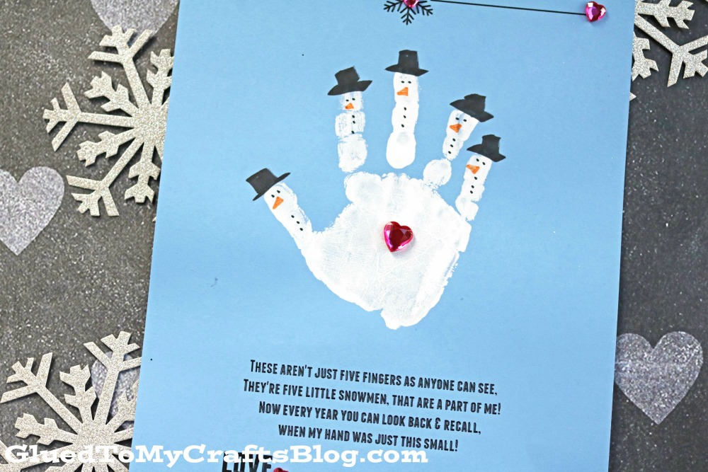Handprint Snowman - Poem Keepsake Printable - Glued To My Crafts