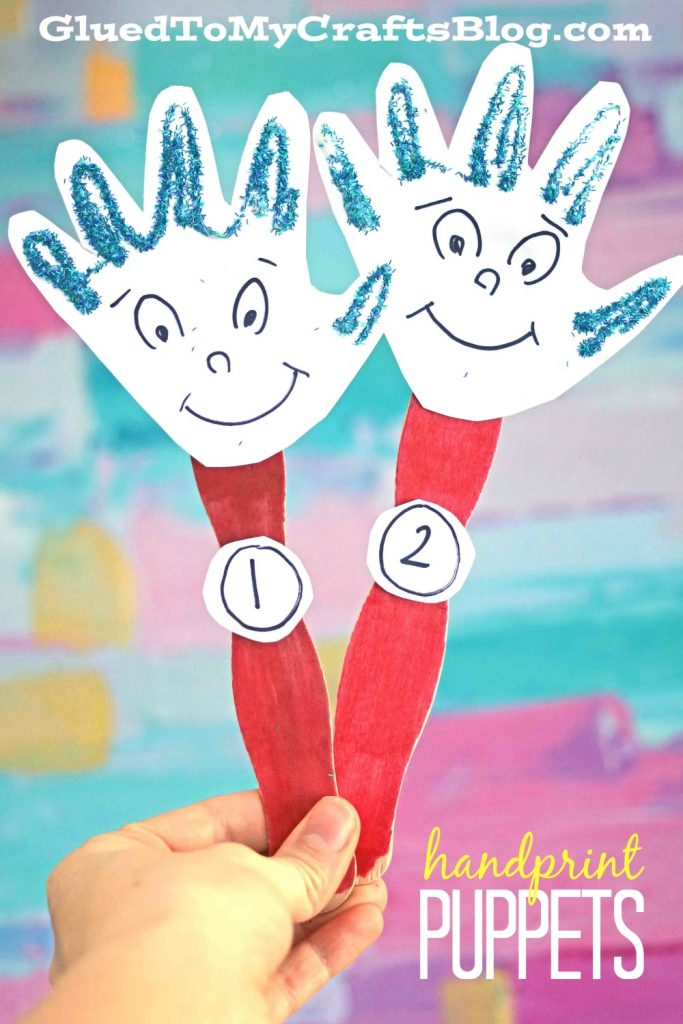 Handprint Thing 1 & 2 Puppet Craft For Kids To Make