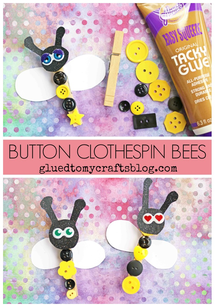 Button Clothespin Bees - Kid Craft